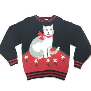 Ugly Christmas Sweater Cats Jingle Bell Flowers